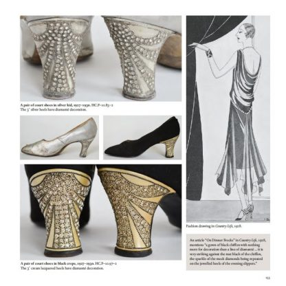 Court shoes in silver kid and in black crepe, 1927-1930