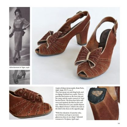 A pair of shoes in tan suede, from Paris, 1946-1949